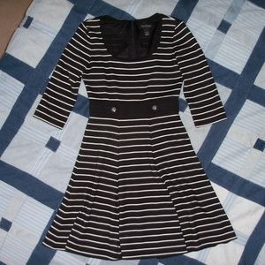 White House Black Market black/white striped dress